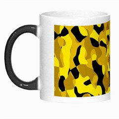 Black And Yellow Camouflage Pattern Morph Mugs by SpinnyChairDesigns