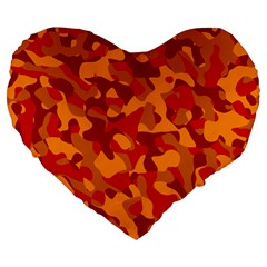 Red And Orange Camouflage Pattern Large 19  Premium Flano Heart Shape Cushions by SpinnyChairDesigns