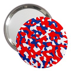 Red White Blue Camouflage Pattern 3  Handbag Mirrors by SpinnyChairDesigns