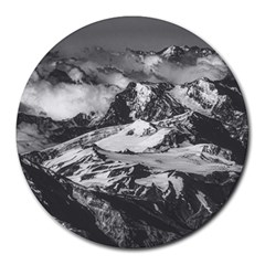 Black And White Andes Mountains Aerial View, Chile Round Mousepads