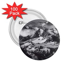 Black And White Andes Mountains Aerial View, Chile 2 25  Buttons (100 Pack)
