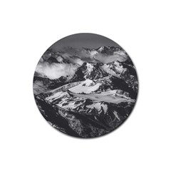Black And White Andes Mountains Aerial View, Chile Rubber Round Coaster (4 Pack)