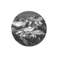 Black And White Andes Mountains Aerial View, Chile Magnet 3  (round)