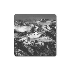 Black And White Andes Mountains Aerial View, Chile Square Magnet