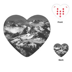Black And White Andes Mountains Aerial View, Chile Playing Cards Single Design (heart)