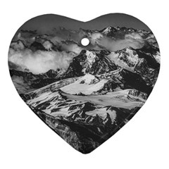 Black And White Andes Mountains Aerial View, Chile Heart Ornament (two Sides)