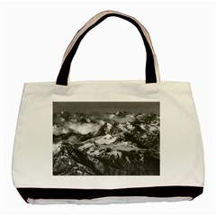 Black And White Andes Mountains Aerial View, Chile Basic Tote Bag (two Sides)