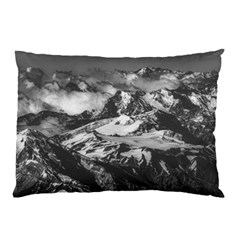 Black And White Andes Mountains Aerial View, Chile Pillow Case