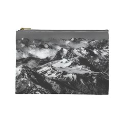 Black And White Andes Mountains Aerial View, Chile Cosmetic Bag (large)