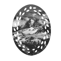 Black And White Andes Mountains Aerial View, Chile Oval Filigree Ornament (two Sides)