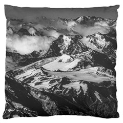 Black And White Andes Mountains Aerial View, Chile Large Cushion Case (one Side)