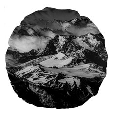 Black And White Andes Mountains Aerial View, Chile Large 18  Premium Round Cushions