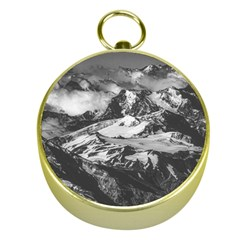 Black And White Andes Mountains Aerial View, Chile Gold Compasses