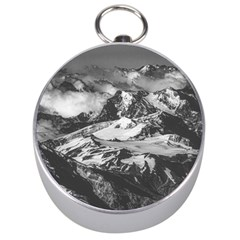 Black And White Andes Mountains Aerial View, Chile Silver Compasses