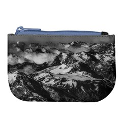 Black And White Andes Mountains Aerial View, Chile Large Coin Purse by dflcprintsclothing