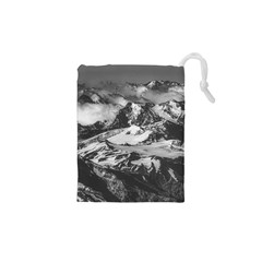 Black And White Andes Mountains Aerial View, Chile Drawstring Pouch (xs)