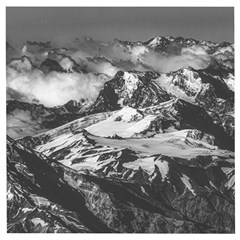 Black And White Andes Mountains Aerial View, Chile Wooden Puzzle Square