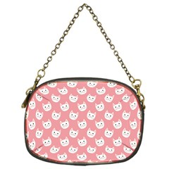 Cute Cat Faces White And Pink Chain Purse (one Side) by SpinnyChairDesigns
