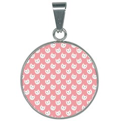Cute Cat Faces White And Pink 25mm Round Necklace by SpinnyChairDesigns