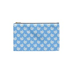 Cute Cat Faces White And Blue  Cosmetic Bag (small)