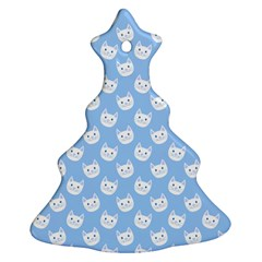 Cute Cat Faces White And Blue  Christmas Tree Ornament (two Sides)