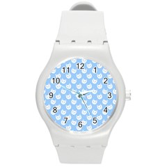 Cute Cat Faces White And Blue  Round Plastic Sport Watch (m)
