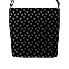 Cat Dog Animal Paw Prints Black And White Flap Closure Messenger Bag (l)