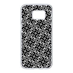 Black And White Decorative Design Pattern Samsung Galaxy S7 Edge White Seamless Case