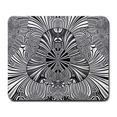 Abstract Art Black And White Floral Intricate Pattern Large Mousepads