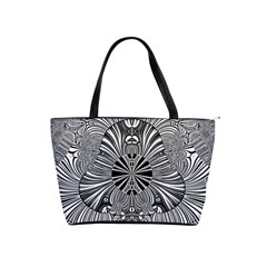 Abstract Art Black And White Floral Intricate Pattern Classic Shoulder Handbag
