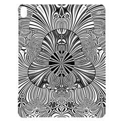 Abstract Art Black And White Floral Intricate Pattern Apple Ipad Pro 12 9   Black Uv Print Case by SpinnyChairDesigns