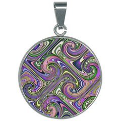 Abstract Art Purple Swirls Pattern 30mm Round Necklace by SpinnyChairDesigns