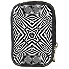 Black And White Line Art Pattern Stripes Compact Camera Leather Case
