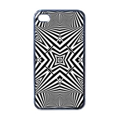 Black And White Line Art Pattern Stripes Iphone 4 Case (black)