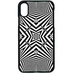 Black And White Line Art Pattern Stripes Iphone Xs Seamless Case (black)