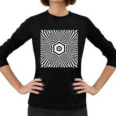 Black And White Line Art Stripes Pattern Women s Long Sleeve Dark T-shirt by SpinnyChairDesigns