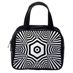 Black And White Line Art Stripes Pattern Classic Handbag (one Side) by SpinnyChairDesigns