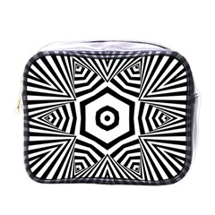 Black And White Line Art Stripes Pattern Mini Toiletries Bag (one Side) by SpinnyChairDesigns
