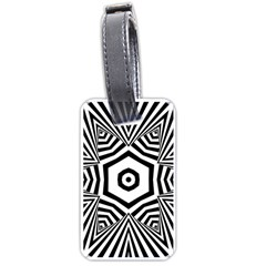 Black And White Line Art Stripes Pattern Luggage Tag (one Side) by SpinnyChairDesigns
