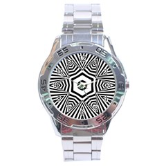 Black And White Line Art Stripes Pattern Stainless Steel Analogue Watch by SpinnyChairDesigns