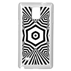 Black And White Line Art Stripes Pattern Samsung Galaxy Note 4 Case (white) by SpinnyChairDesigns