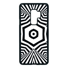 Black And White Line Art Stripes Pattern Samsung Galaxy S9 Plus Seamless Case(black) by SpinnyChairDesigns