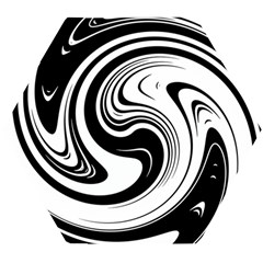 Black And White Swirl Spiral Swoosh Pattern Wooden Puzzle Hexagon