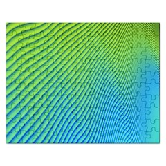 Blue Green Abstract Stripe Pattern  Rectangular Jigsaw Puzzl