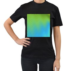 Blue Green Abstract Stripe Pattern  Women s T-shirt (black) by SpinnyChairDesigns