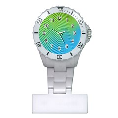 Blue Green Abstract Stripe Pattern  Plastic Nurses Watch by SpinnyChairDesigns