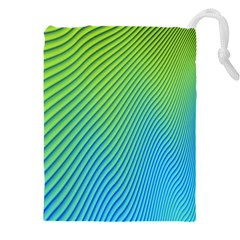 Blue Green Abstract Stripe Pattern  Drawstring Pouch (5xl)