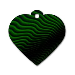 Black And Green Abstract Stripes Gradient Dog Tag Heart (two Sides) by SpinnyChairDesigns