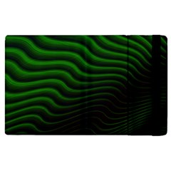Black And Green Abstract Stripes Gradient Apple Ipad Pro 12 9   Flip Case