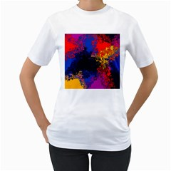 Colorful Paint Splatter Texture Red Black Yellow Blue Women s T-shirt (white) (two Sided) by SpinnyChairDesigns